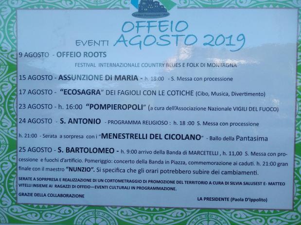 Eventi Agosto 2019